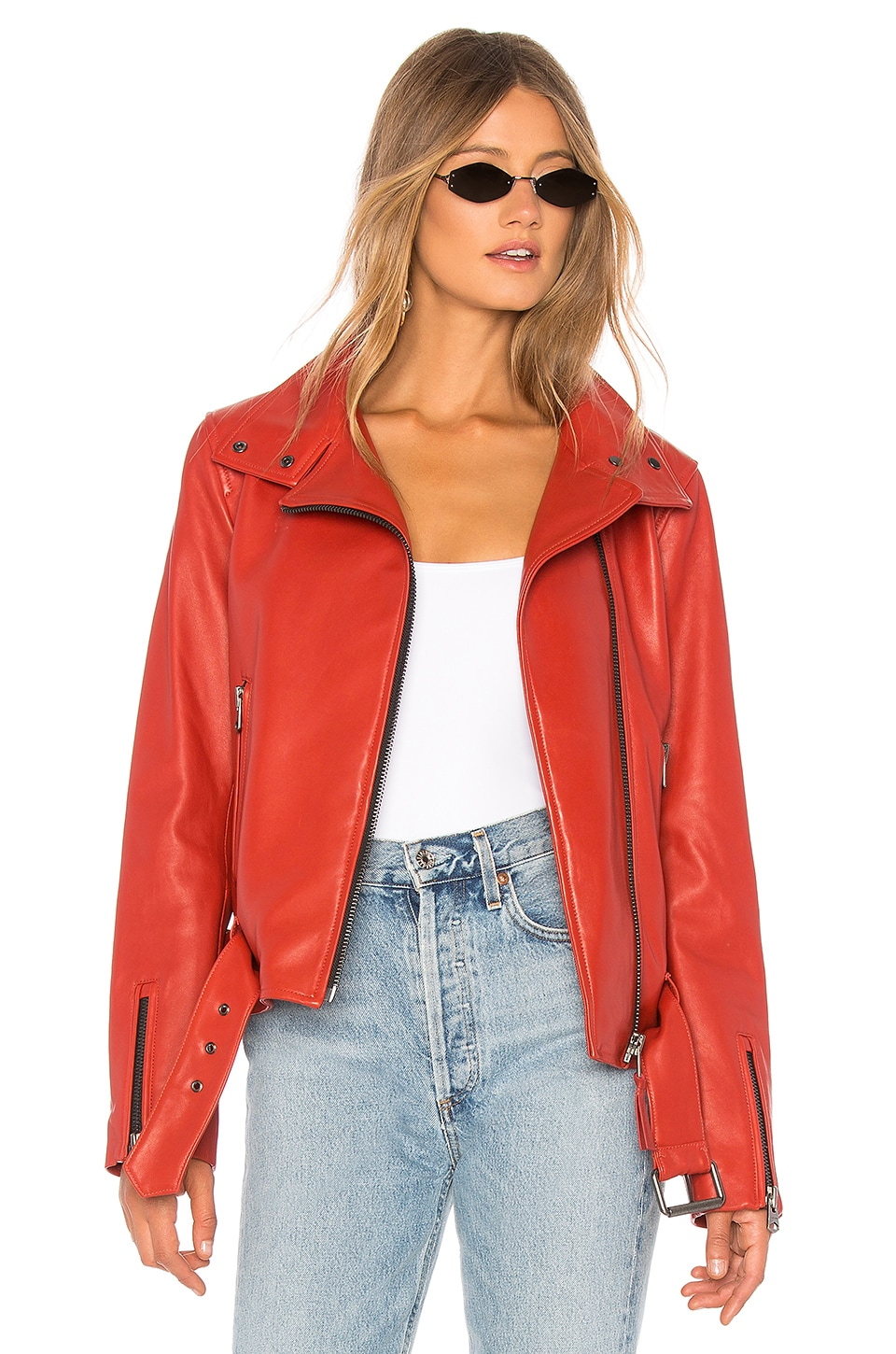 Mackage Emily Leather Jacket in Paprika