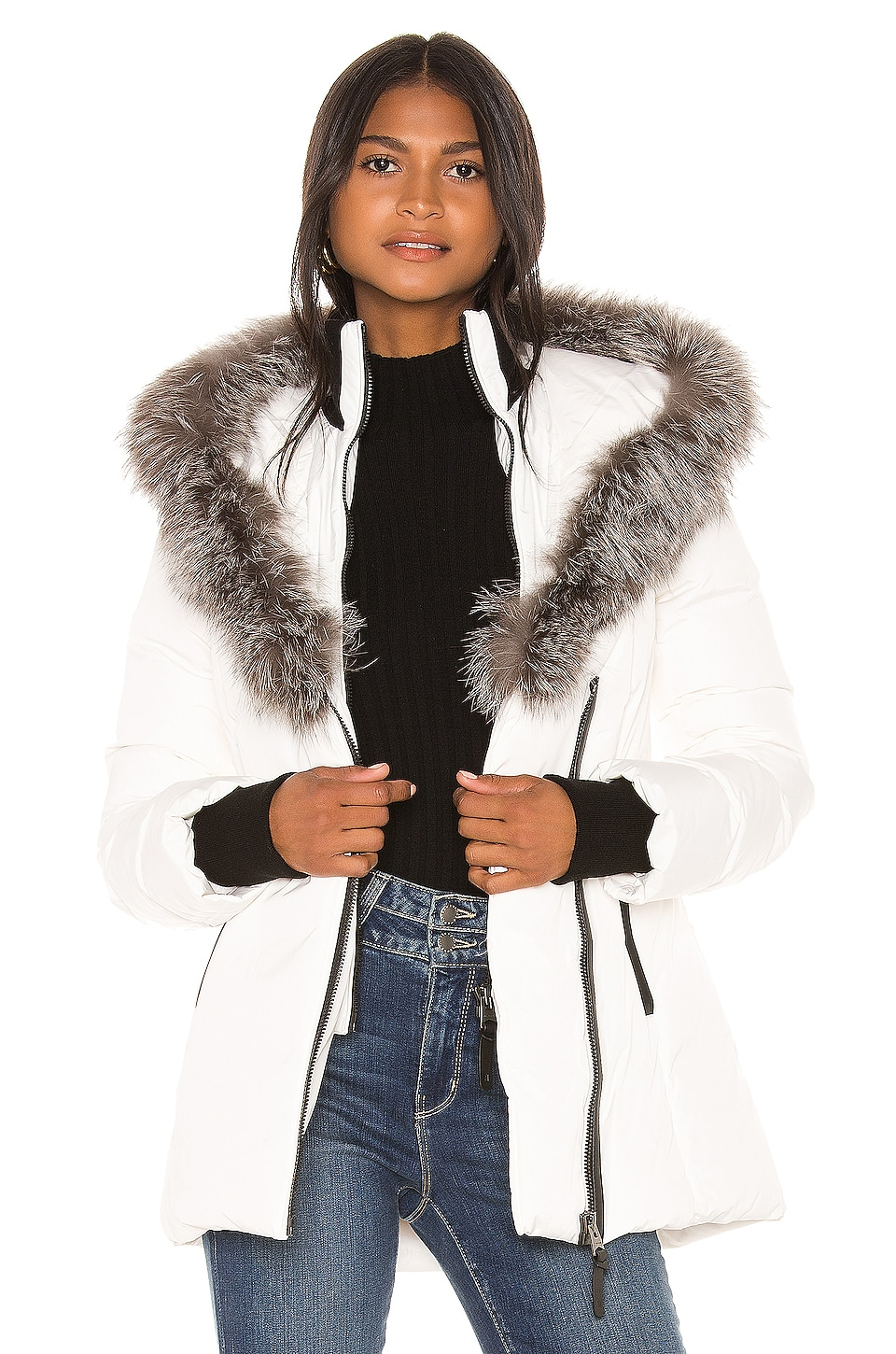 Mackage Adali Jacket With Fur Collar in Off White