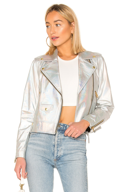 Mackage Baya Cropped Leather Jacket in Hologram
