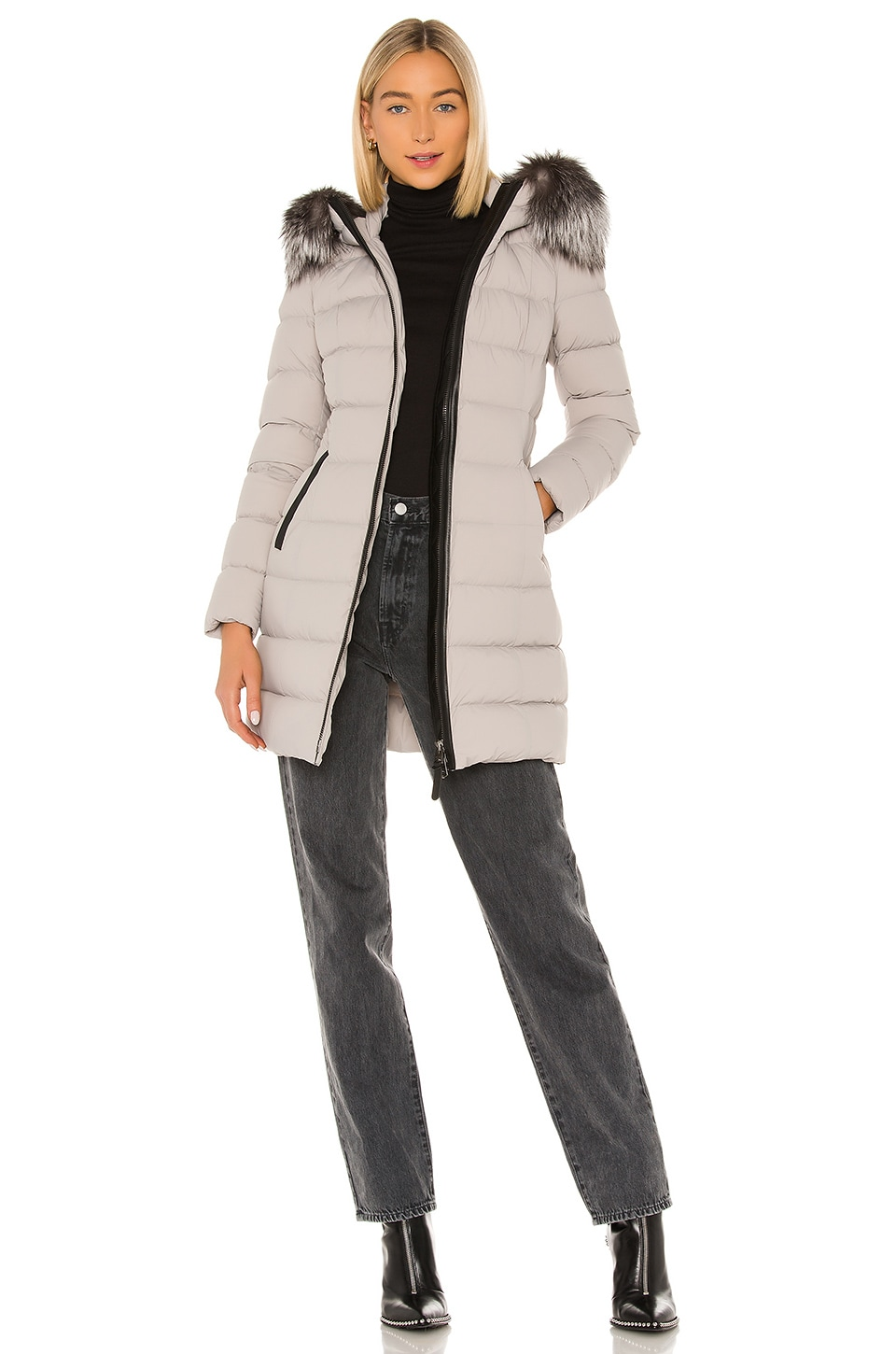 Mackage Calla Jacket With Fur Trim in Mineral