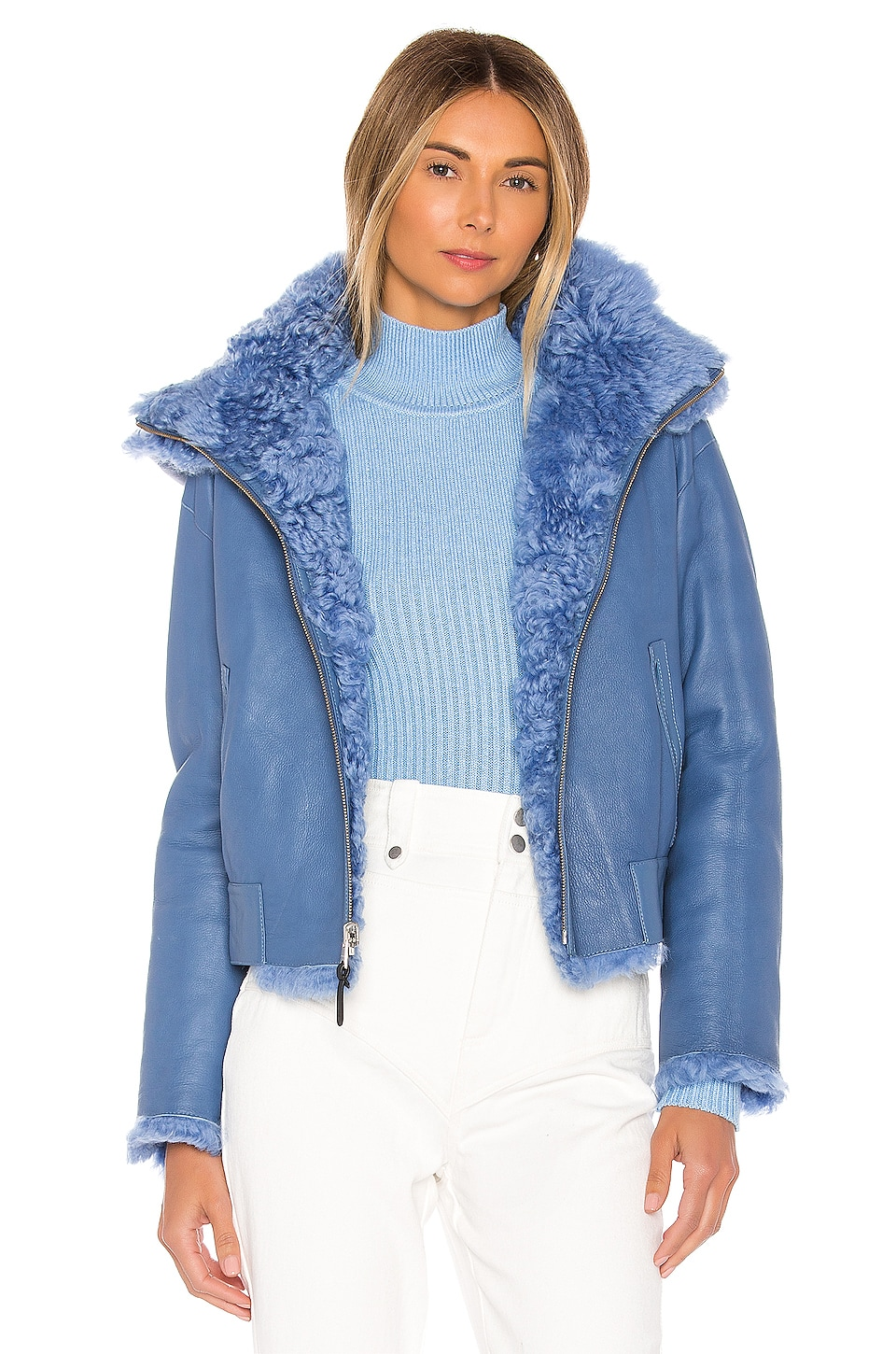Mackage Zinnia Reversible Shearling Jacket in Cobalt