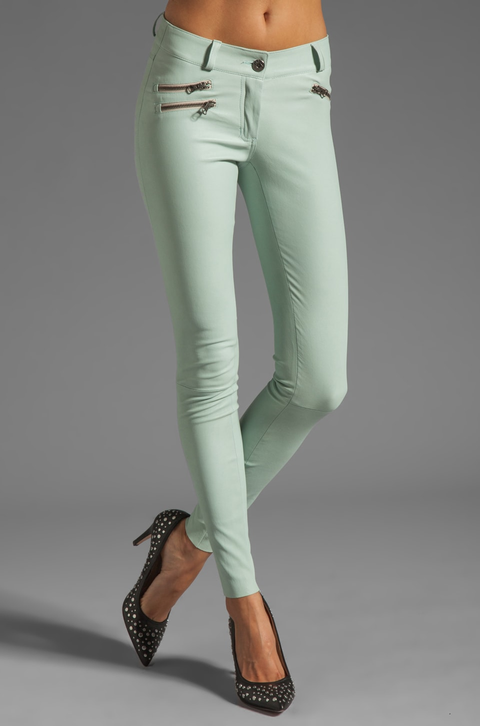 Mackage Miki Stretch Leather Pant in Mint