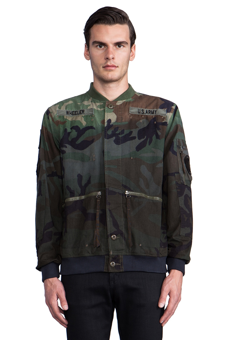 Maharishi Upcycled MA13 Peace Tour Jacket in Partial Dip Dye Black