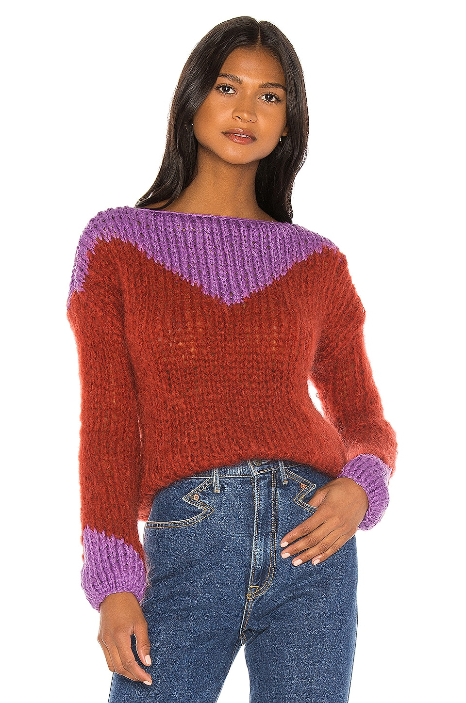 Maiami Western Sweaterblouse in Rusty Red & Violet