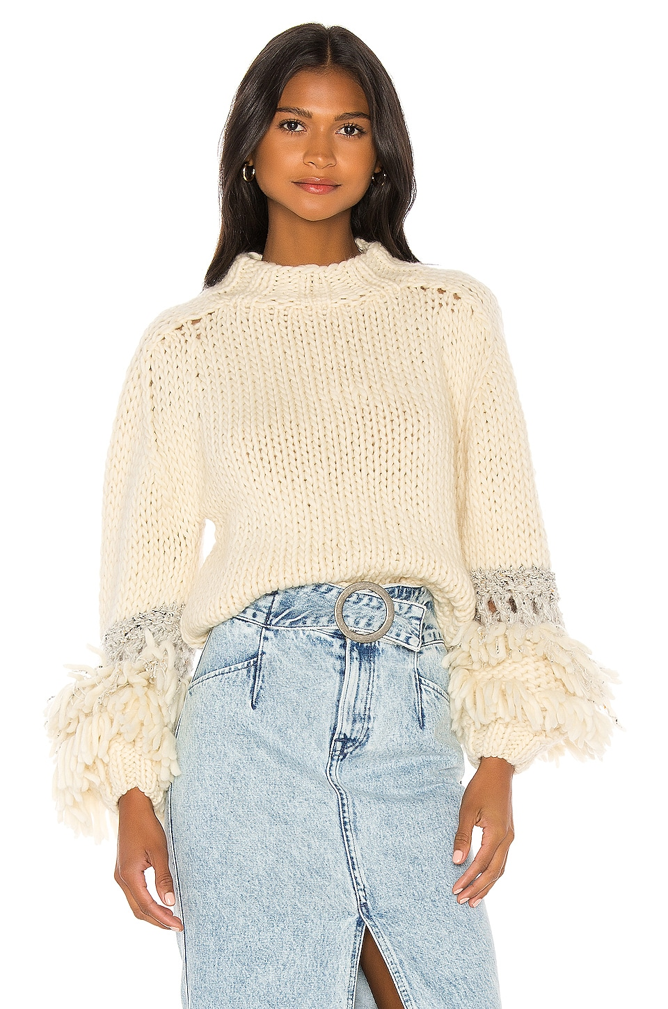 Maiami Short Sweater With Fringe Balloon Sleeve in Creme & Grey