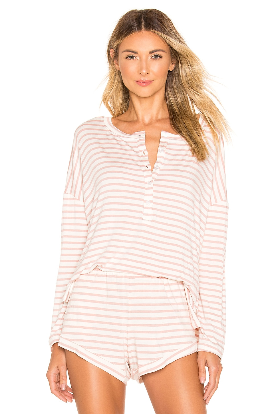 MAISON DU SOIR Courtney Long Sleeve Top in Rose Stripe