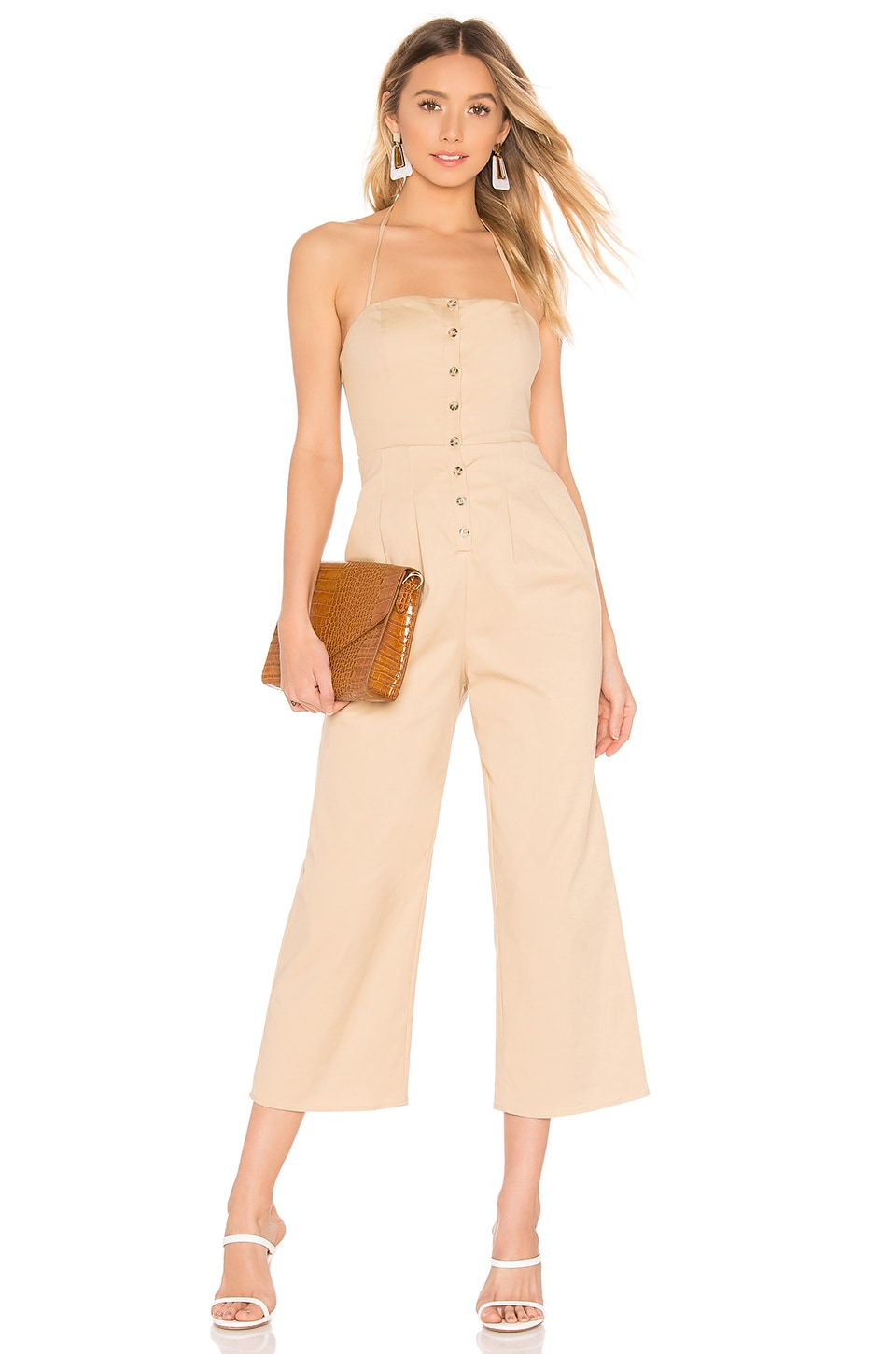 MAJORELLE Casablanca Jumpsuit in Khaki Tan