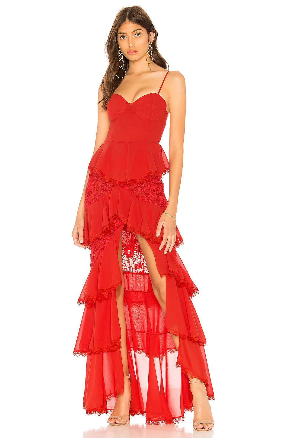 MAJORELLE Zelda Fitz Gown in Red