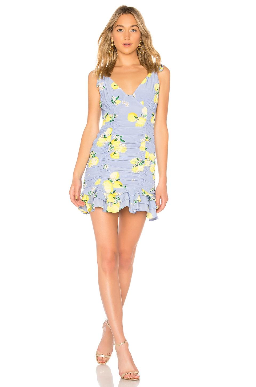 MAJORELLE Annalise Mini Dress in Blue Lemon