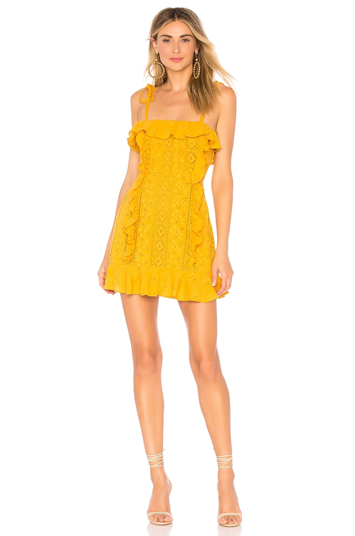 MAJORELLE Mara Mini Dress in Gold Horizon