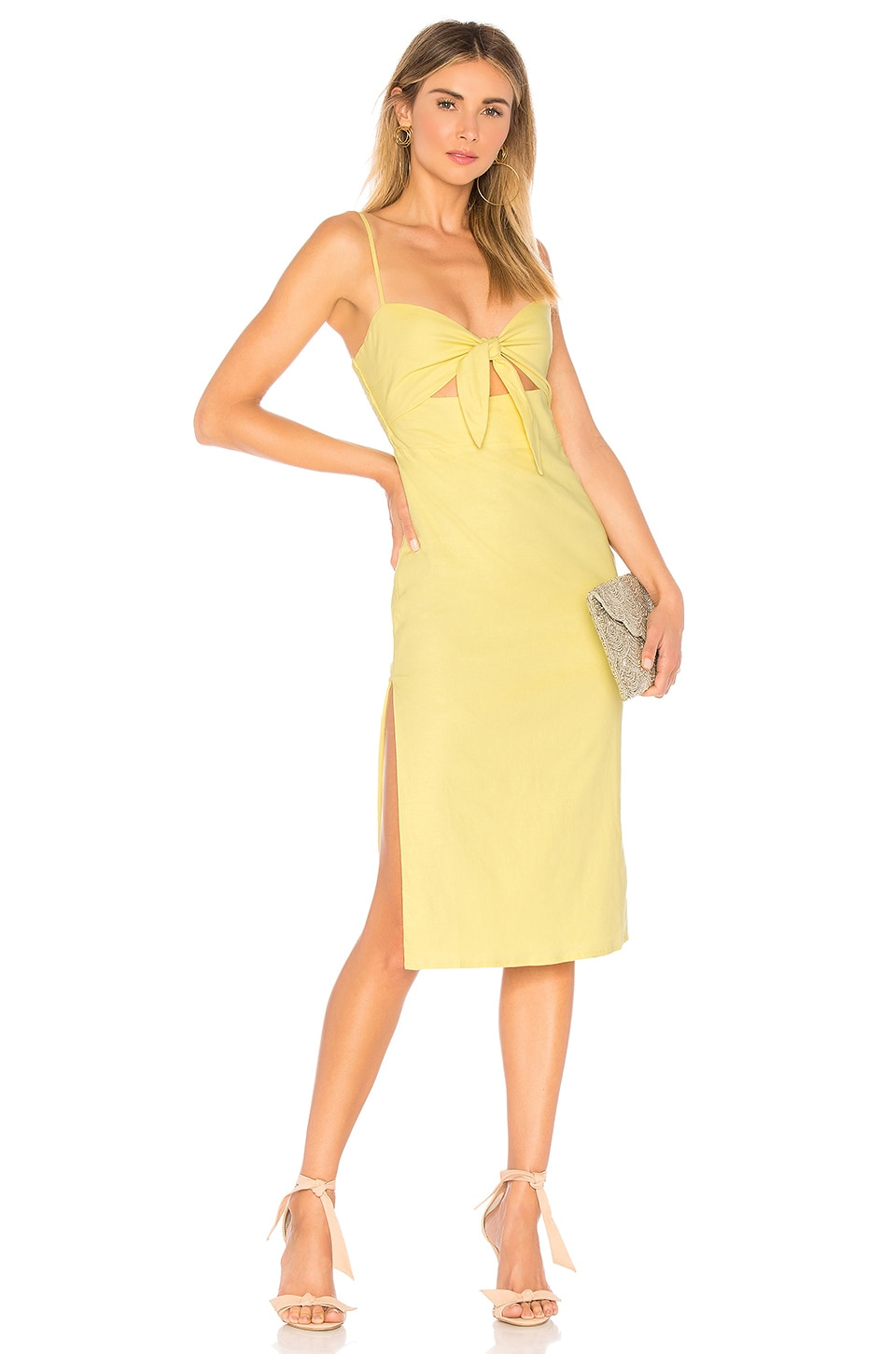 Nora Embroidered Midi Dress in Yellow. - size M (also in L,S,XL,XS,XXS) Privacy Please