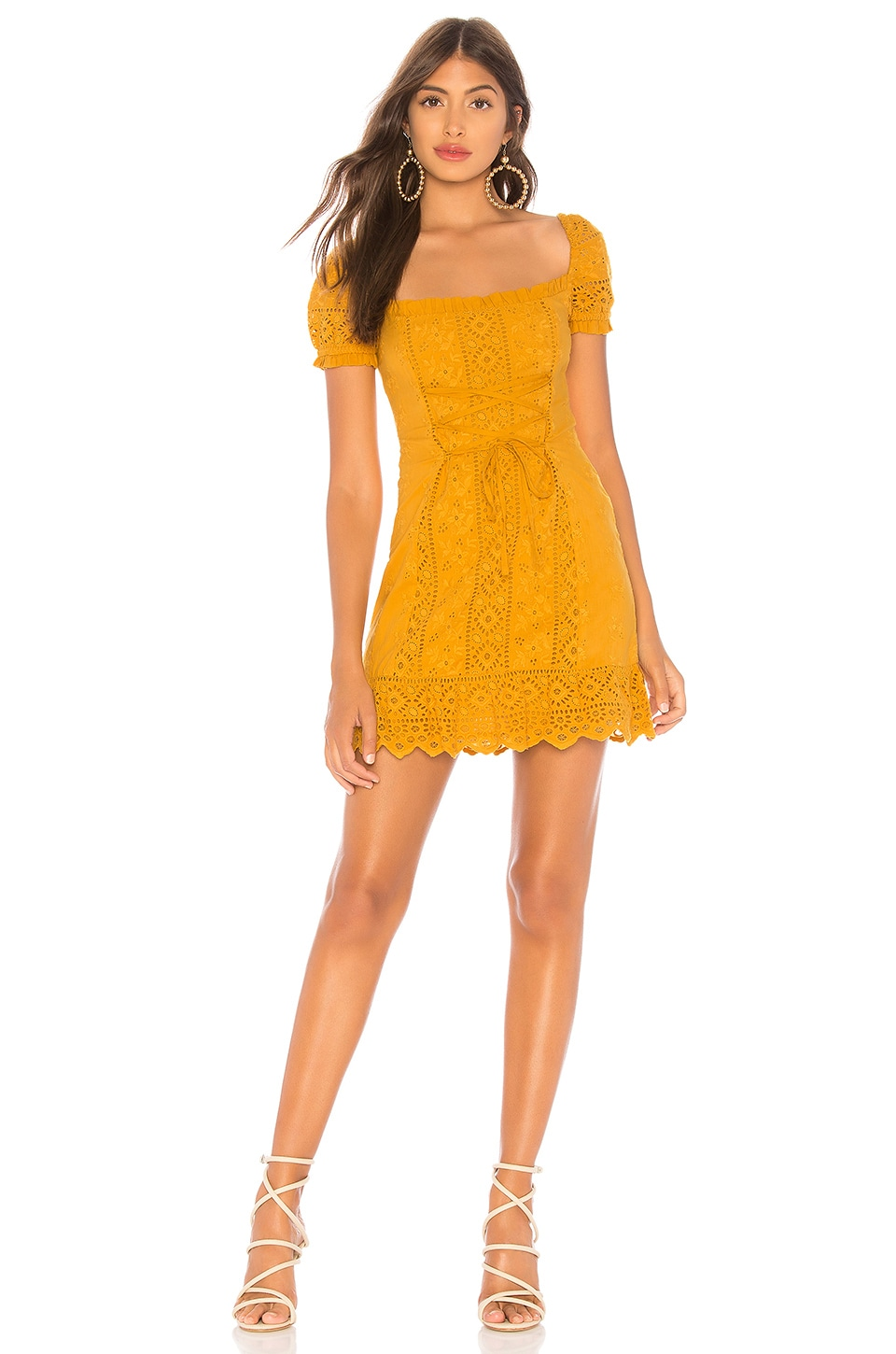 MAJORELLE Lana Mini Dress in Gold Horizon