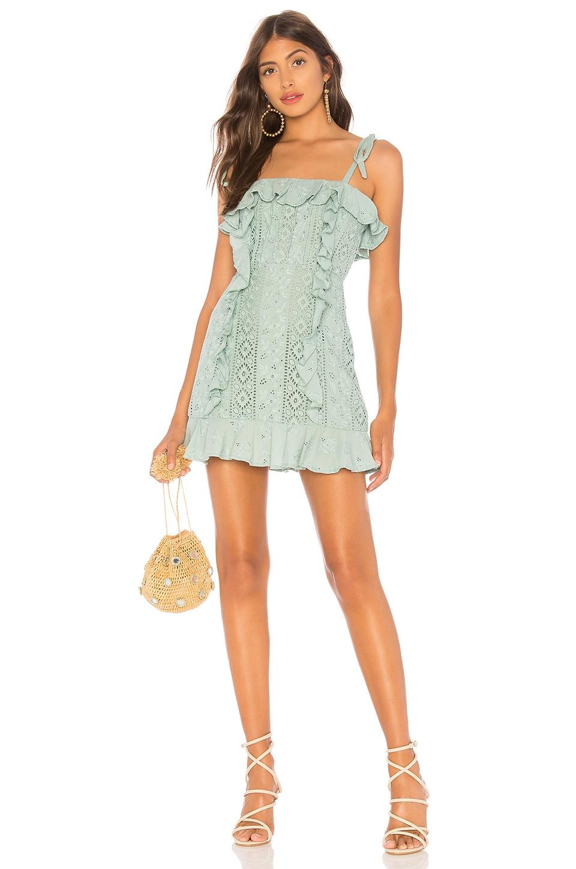 MAJORELLE Mara Mini Dress in Jade Green