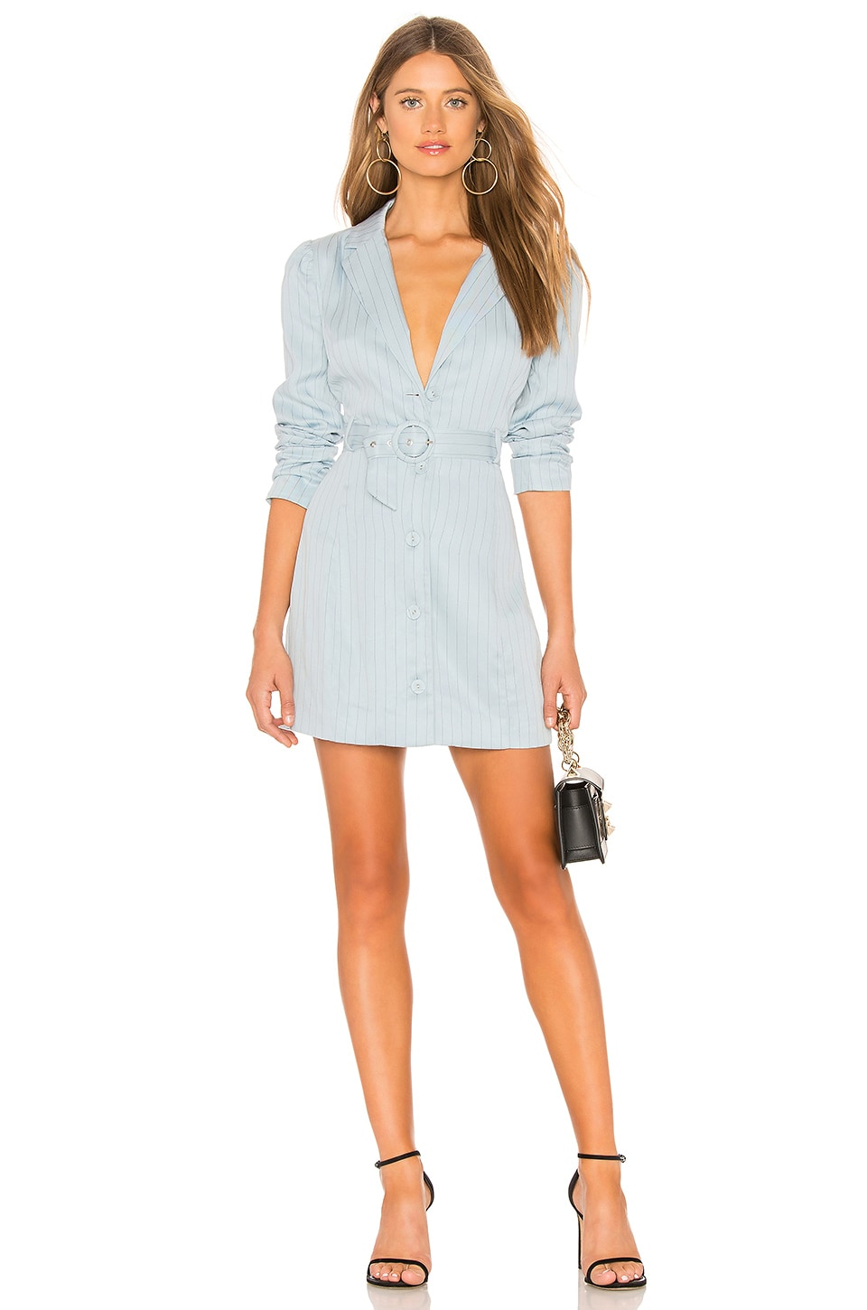 MAJORELLE Oakwood Mini Dress in Powder Blue