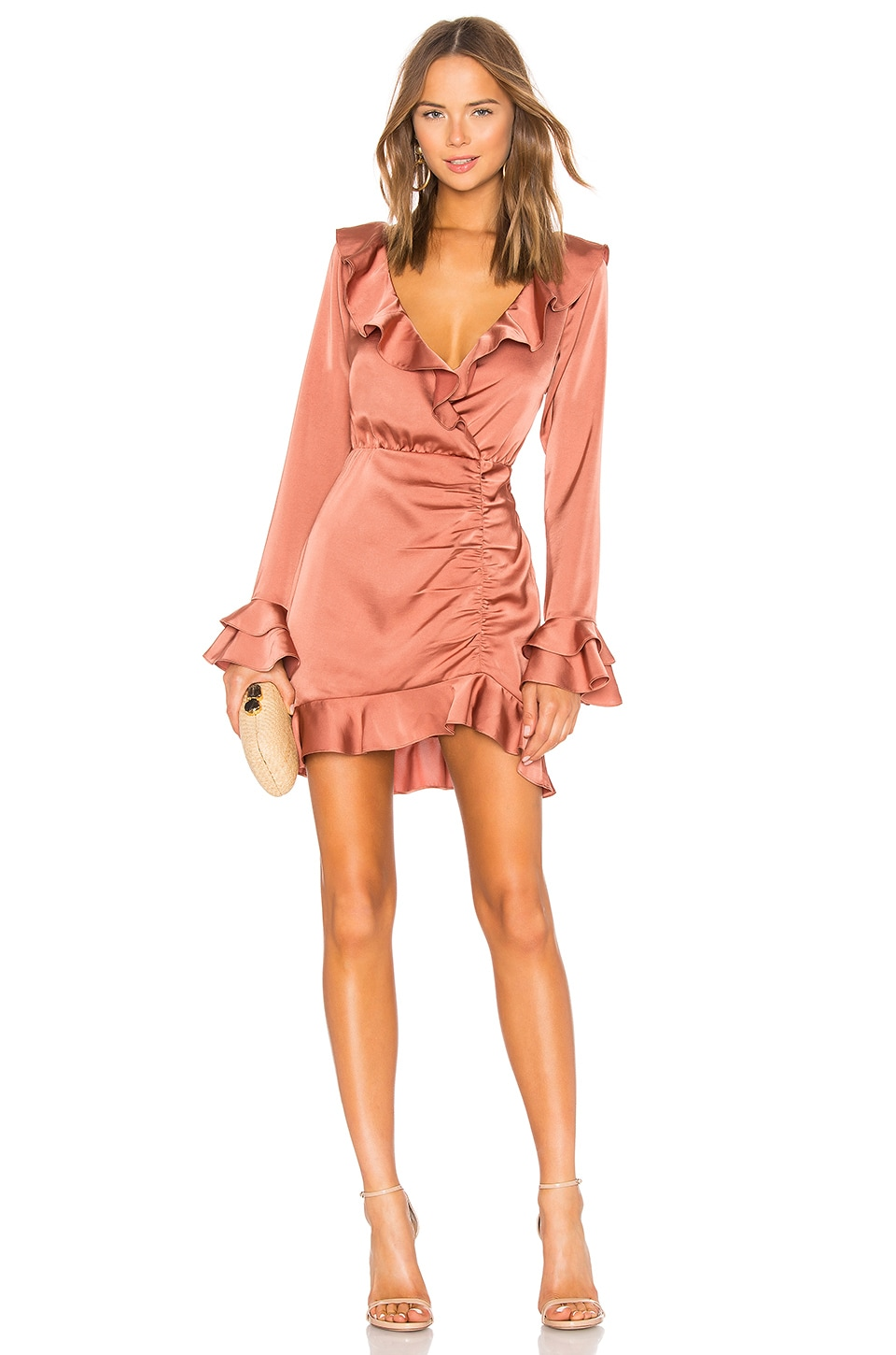 MAJORELLE Nelly Mini Dress in Terracotta Brown