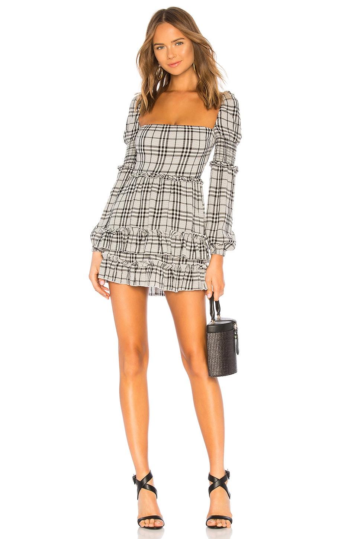 MAJORELLE Clarise Mini Dress in Black Plaid