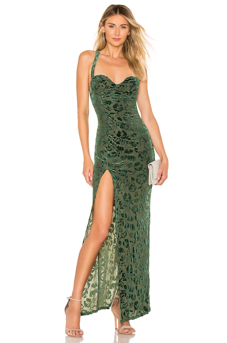 MAJORELLE Bianca Maxi Dress in Emerald Green