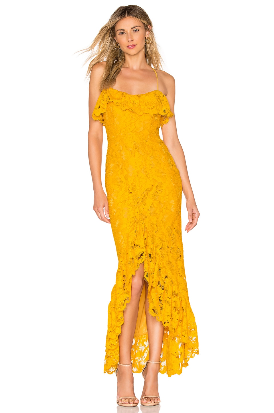 MAJORELLE Rose Water Lace Gown in Gold Yellow