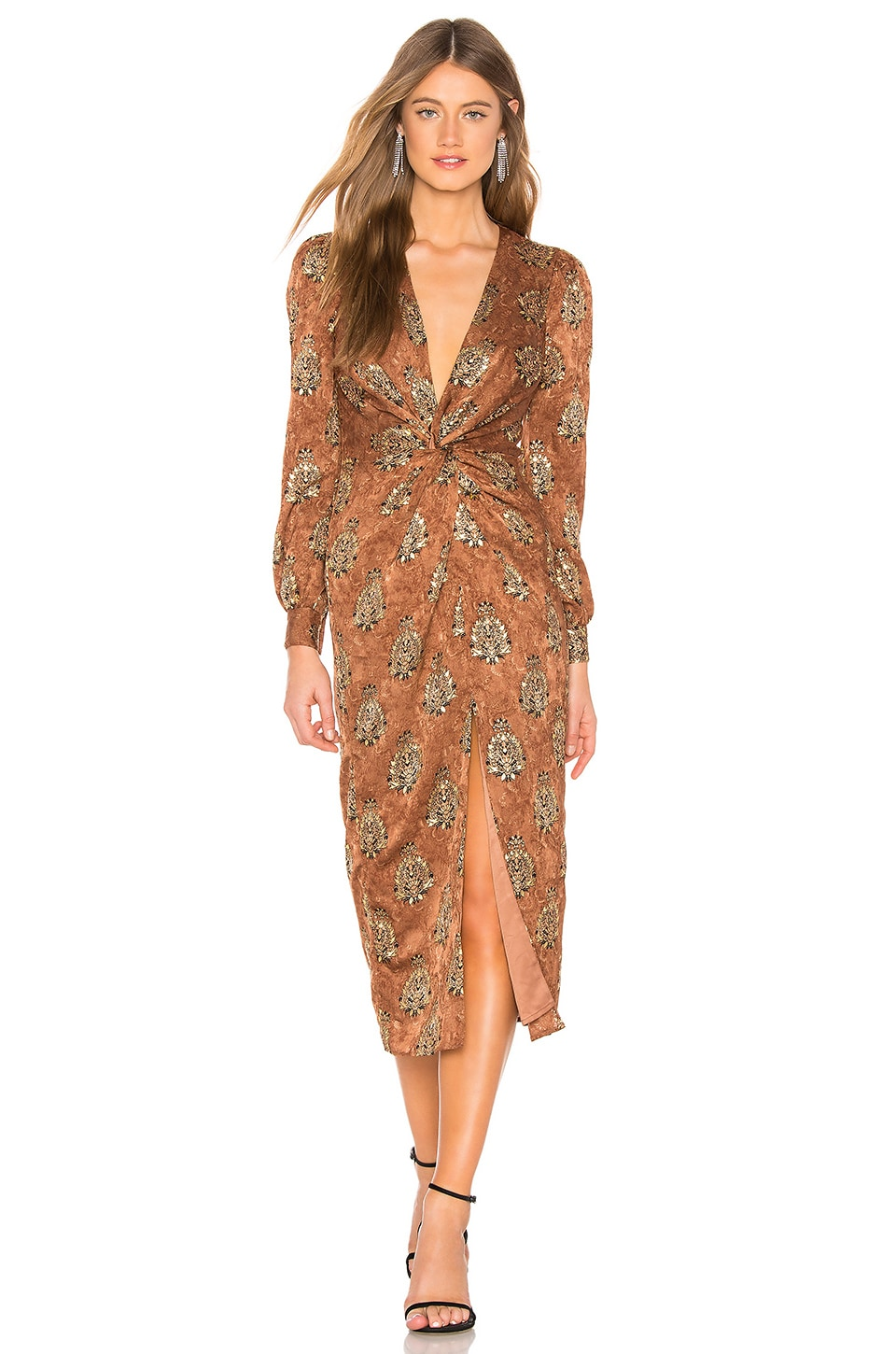 MAJORELLE Augustina Midi Dress in Arabian Copper