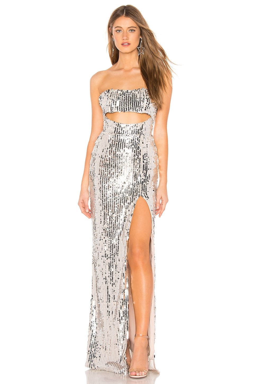 MAJORELLE Carmona Maxi Dress in Silver