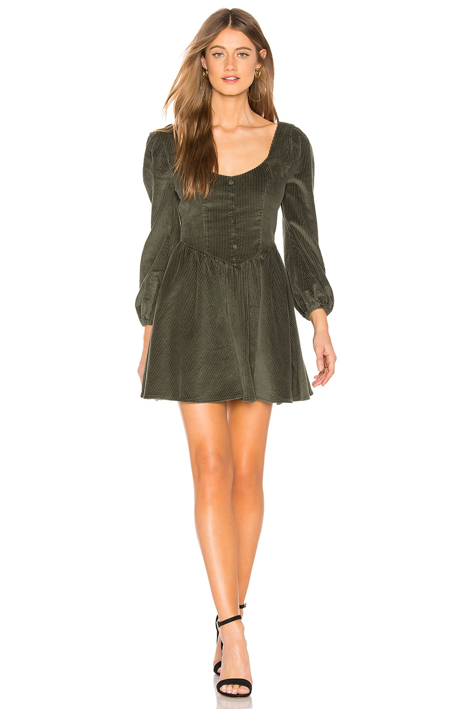 MAJORELLE Alessandra Mini Dress in Olive Green