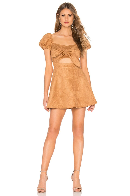 MAJORELLE Merida Mini Dress in Camel