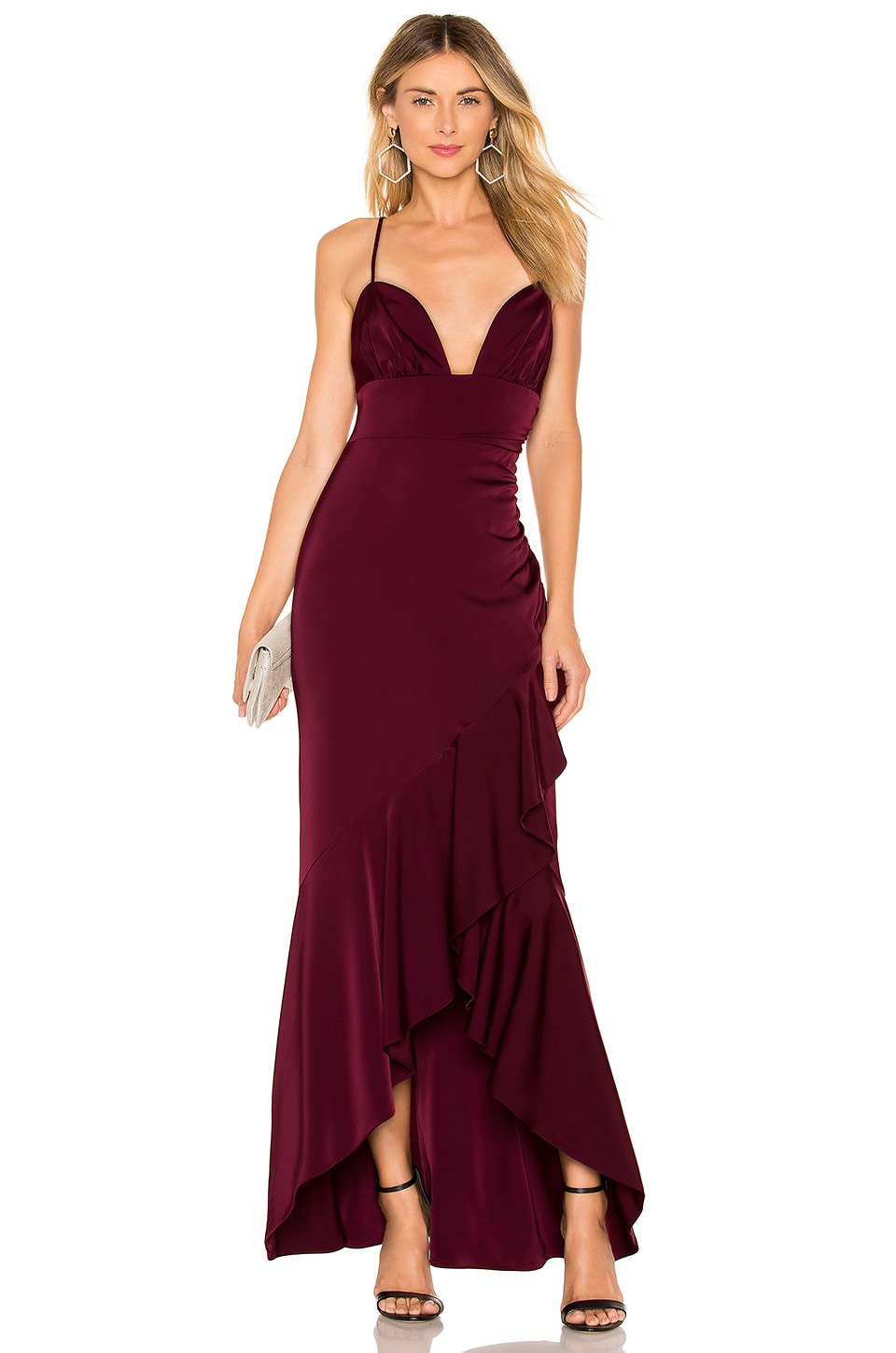 MAJORELLE Sangria Gown in Ruby