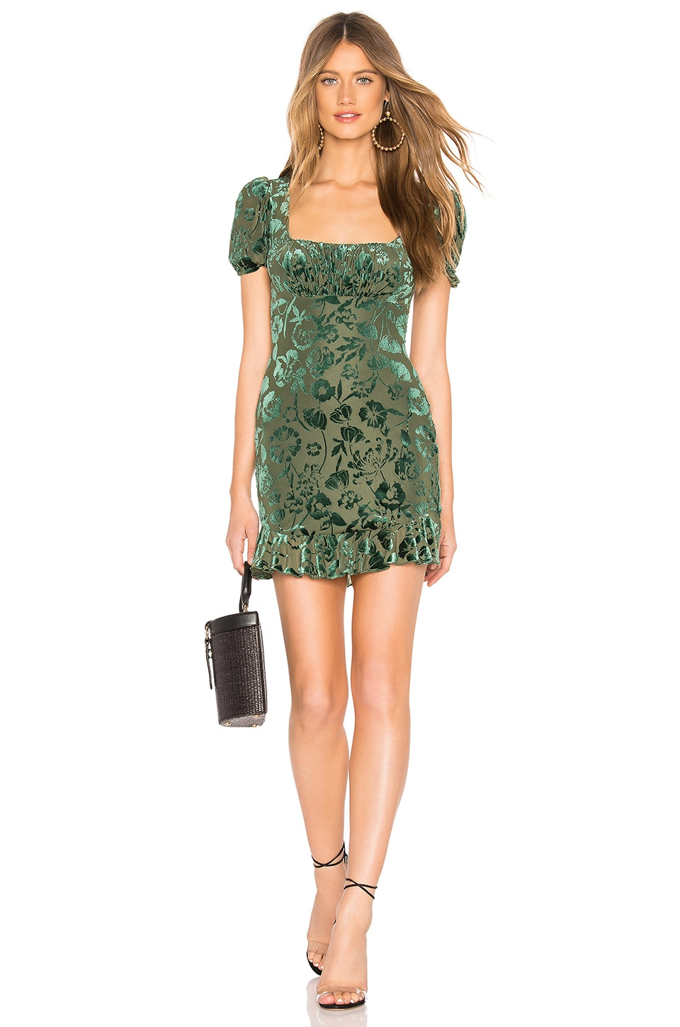 MAJORELLE Carla Mini Dress in Emerald Green