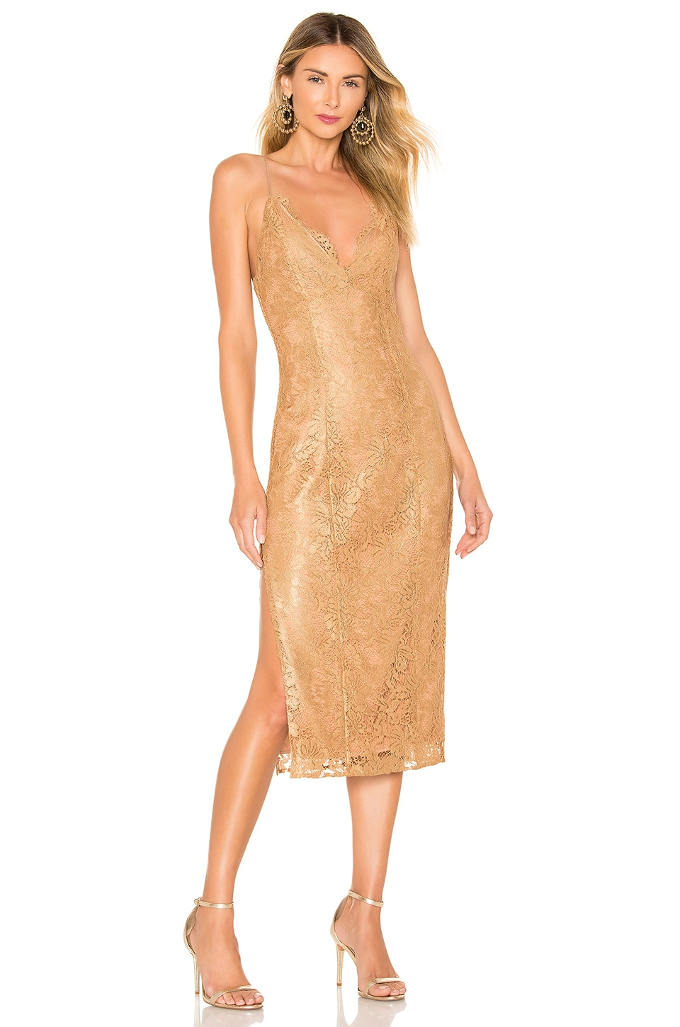 MAJORELLE Brie Midi Dress in Golden Luxe