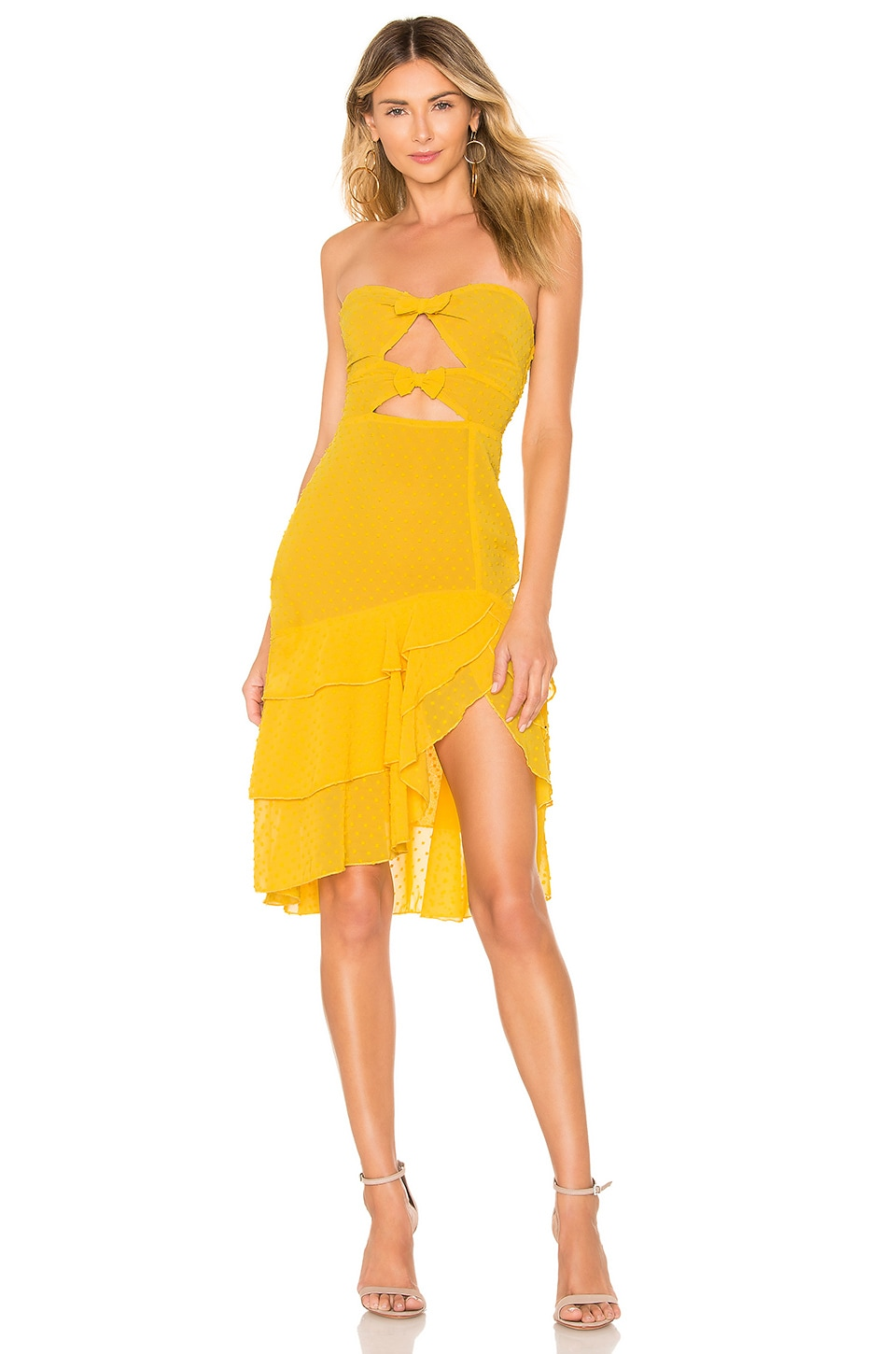 MAJORELLE Emelia Midi Dress in Sunshine Yellow