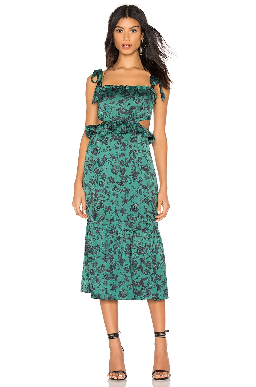 MAJORELLE Francesca Midi Dress in Green Riviera