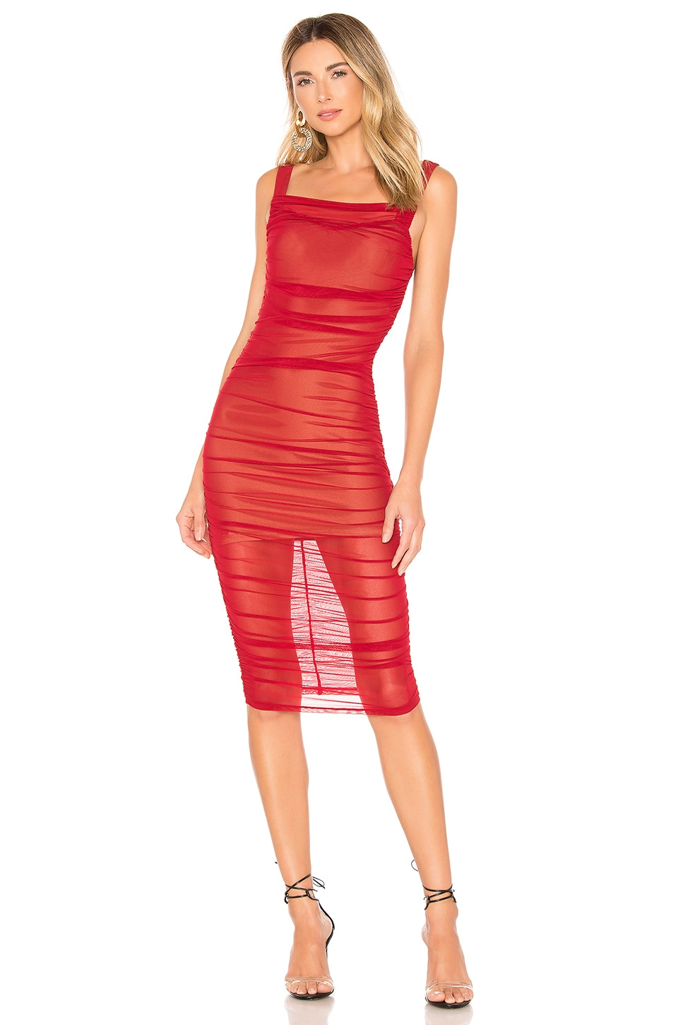 MAJORELLE Rachelle Midi Dress in Cranberry Red