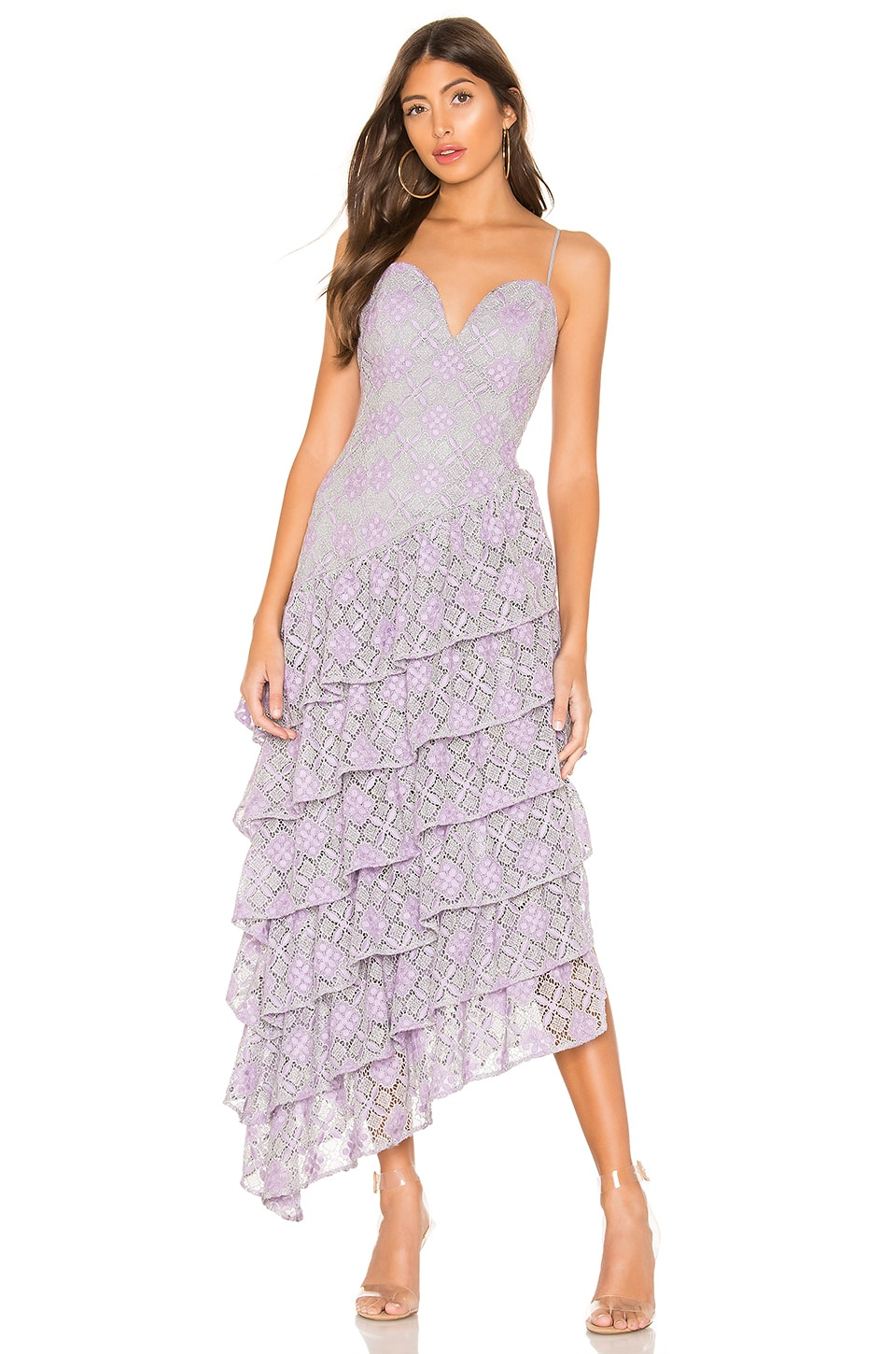 MAJORELLE Oracle Gown in Purple & Silver