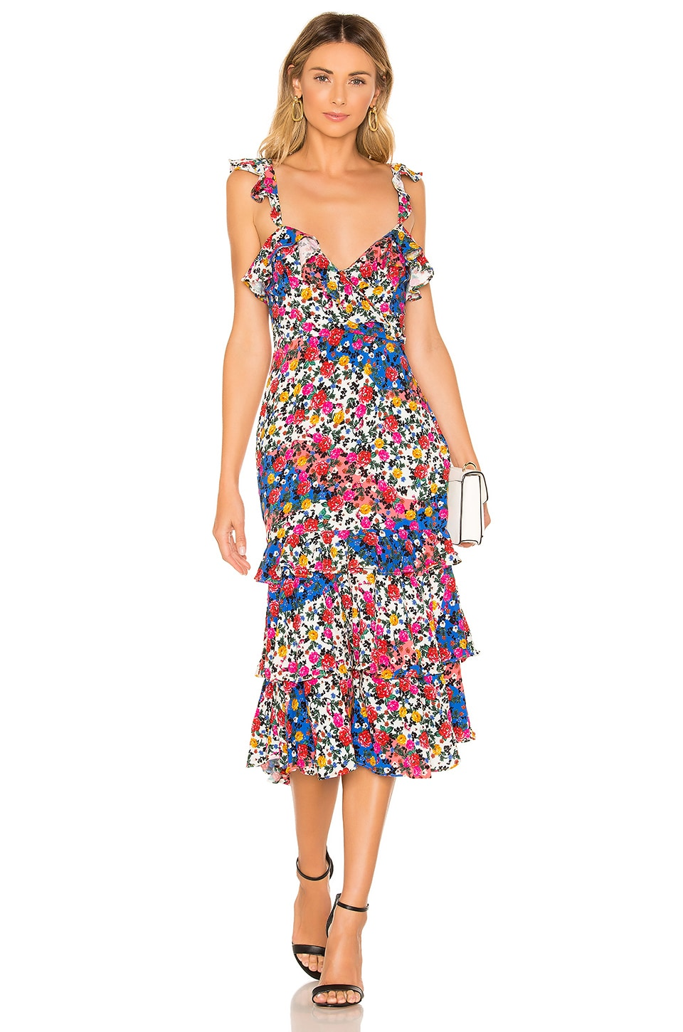 MAJORELLE Nolita Midi Dress in Patchwork Multi