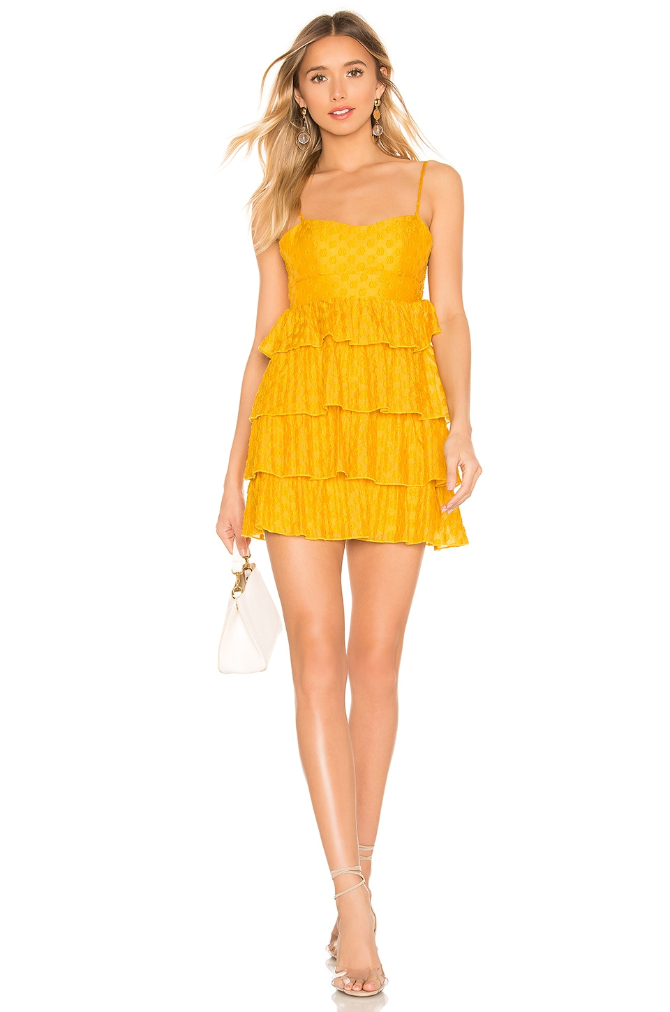 MAJORELLE Ruthanne Mini Dress in Mustard Yellow