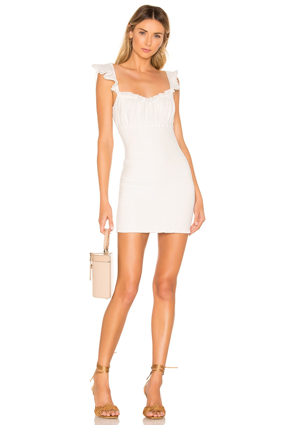 MAJORELLE Fanning Mini Dress in Ivory