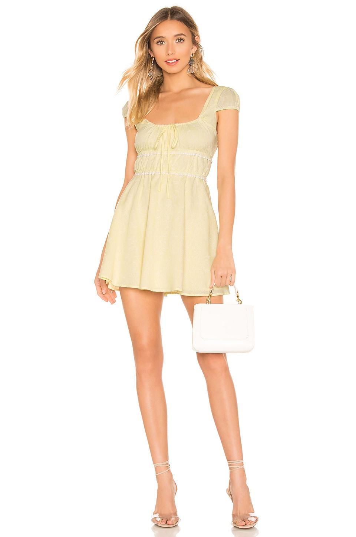 MAJORELLE Alexis Mini Dress in Baby Yellow