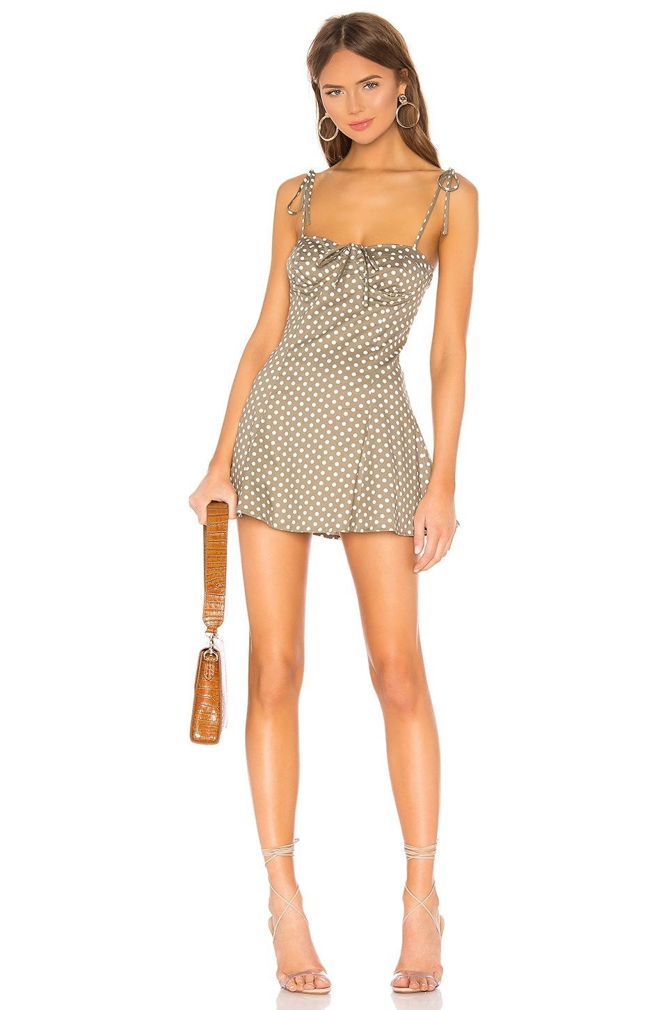 MAJORELLE Tahoe Dress in Green & White Dot