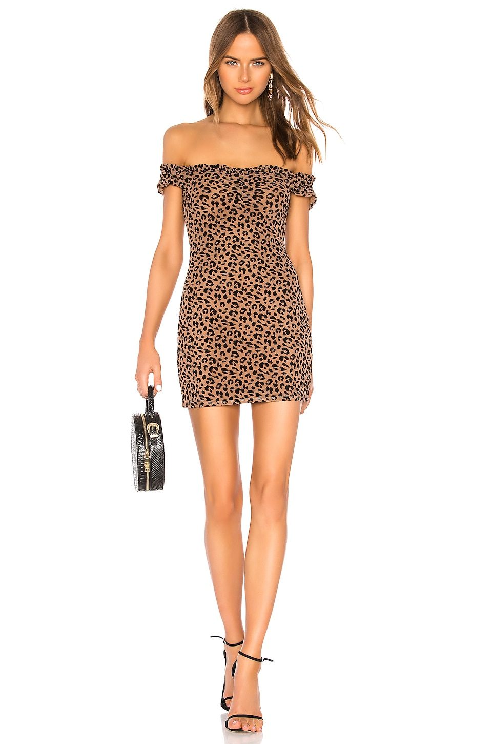 MAJORELLE Darcy Mini Dress in Tan Leopard