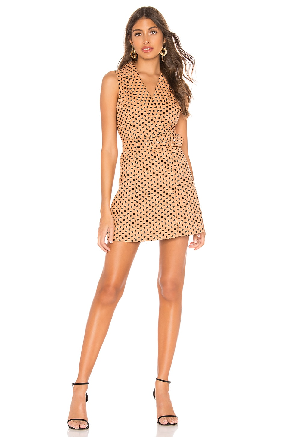 MAJORELLE Leona Mini Dress in Tan & Black Dot