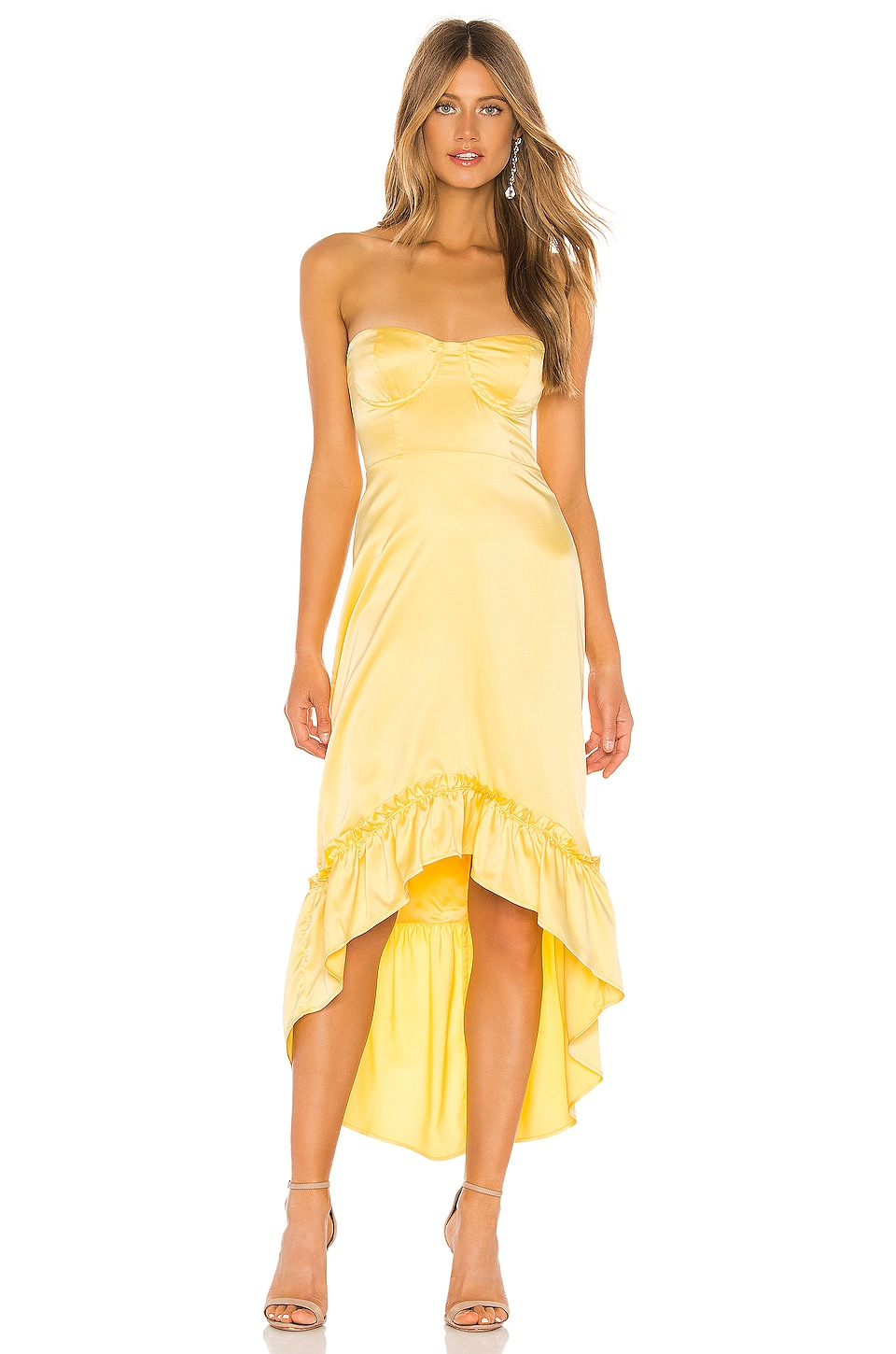 MAJORELLE Tangier Midi Dress in Butter Yellow