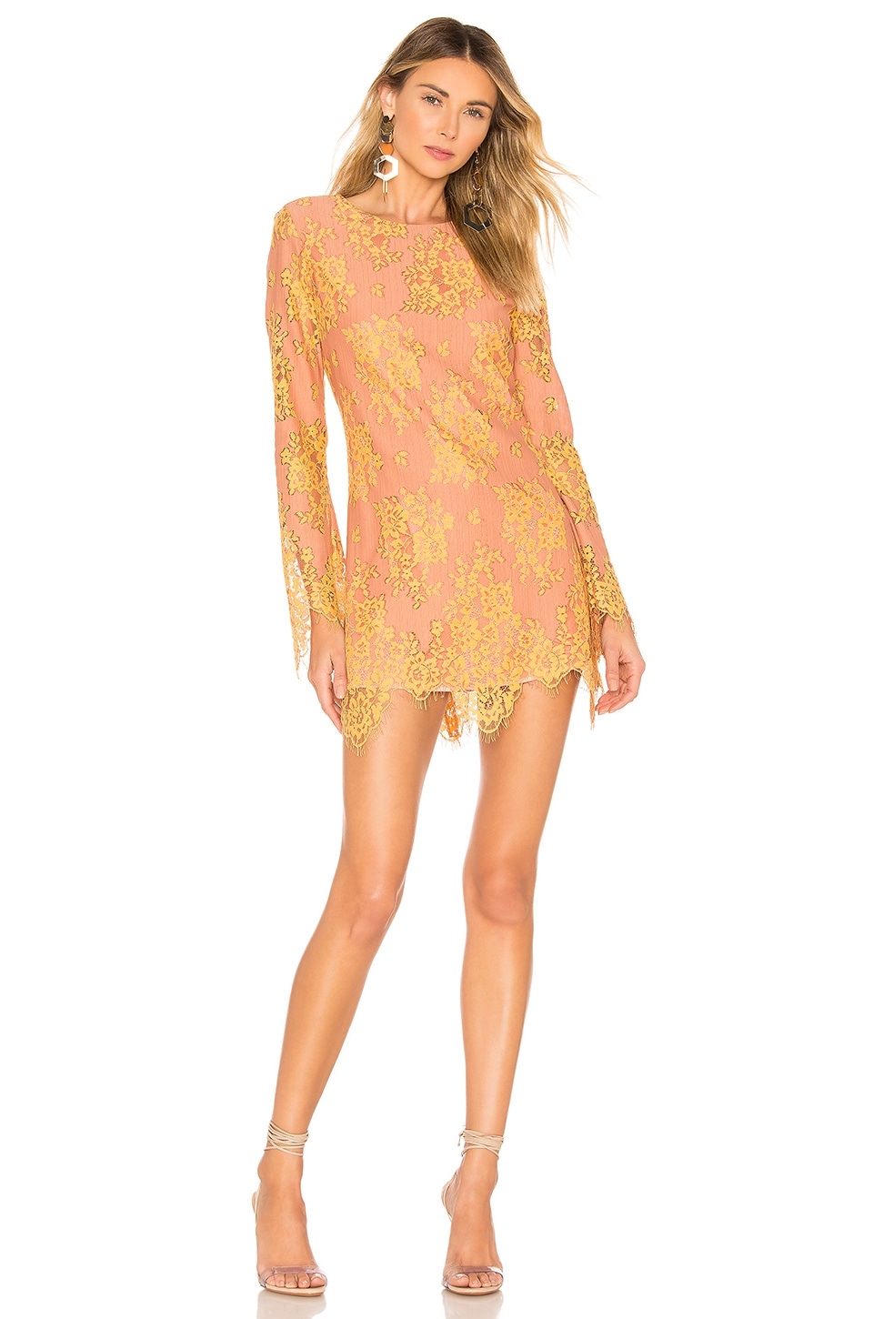 MAJORELLE Octavia Mini Dress in Golden Blush