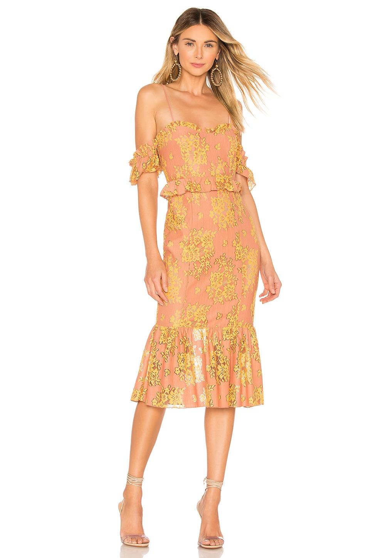 MAJORELLE Sashie Midi Dress in Golden Blush