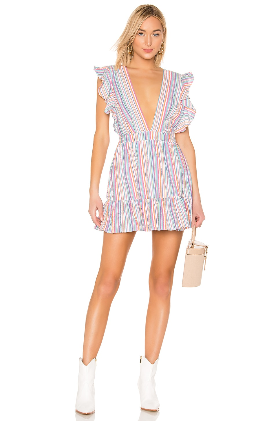 MAJORELLE Costello Mini Dress in Rainbow Stripe