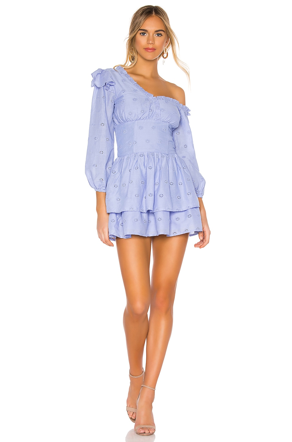 MAJORELLE Oliver Mini Dress in Periwinkle Blue