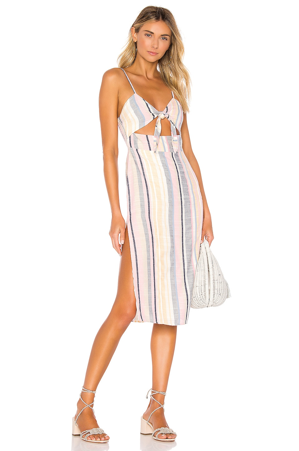 MAJORELLE Seashell Midi Dress in Stripe Multi