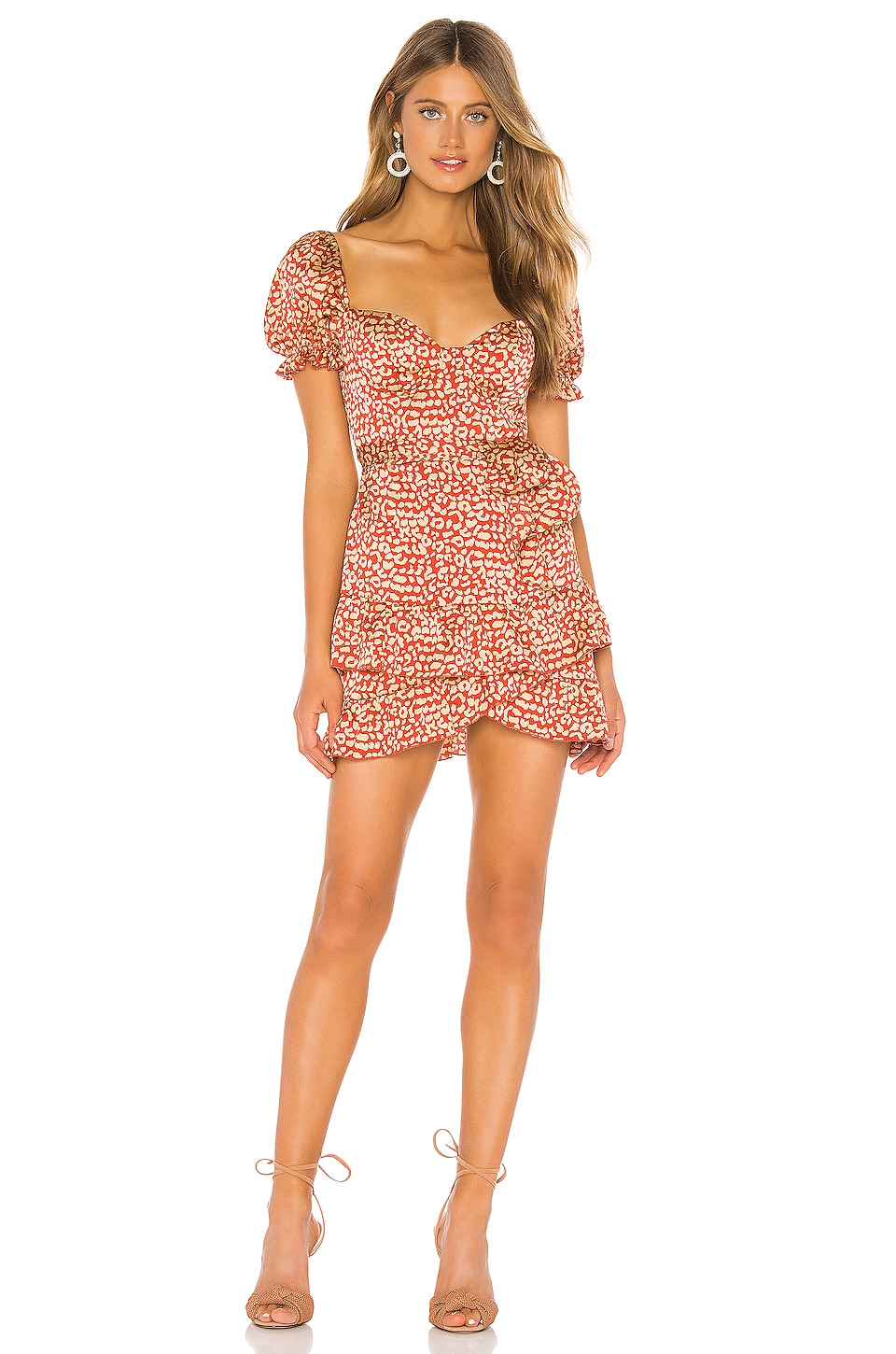 MAJORELLE Shiloh Mini Dress in Red Leopard