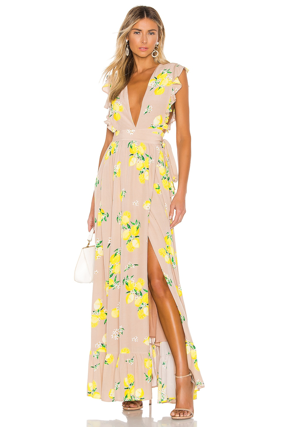 MAJORELLE Sweet Pea Dress in Tan Lemon