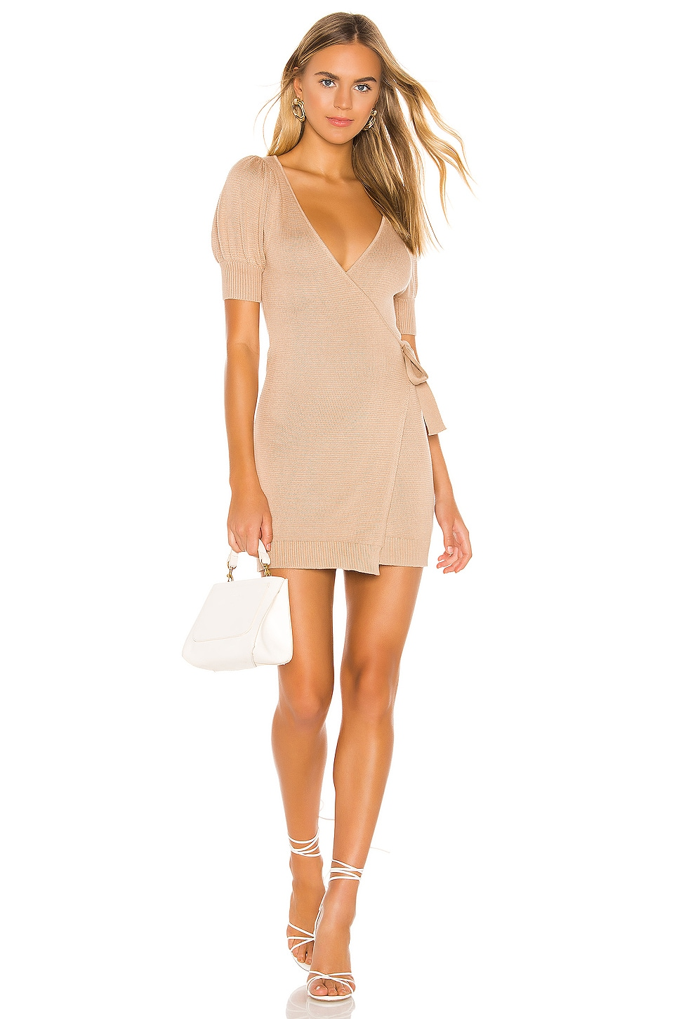 MAJORELLE Becky Wrap Dress in Neutral