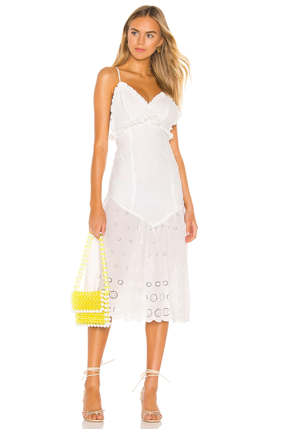 MAJORELLE Isla Midi Dress in White